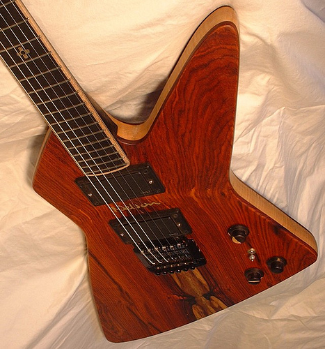 Explorer Beauty III.  Nick's explorer, Cocobolo top, EMG active pick ups, Kahler tremolo